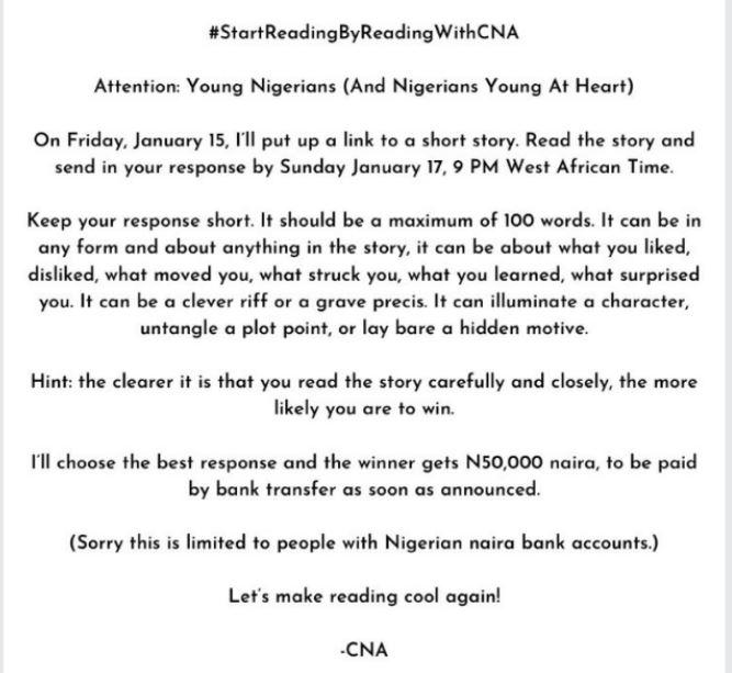 Chimamanda Adichie Reading Contest